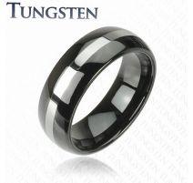Bague en tungstène noire avec centre argenté