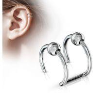 Faux Piercing Oreille Cartilage acier Billes - Bijou Faux Piercing