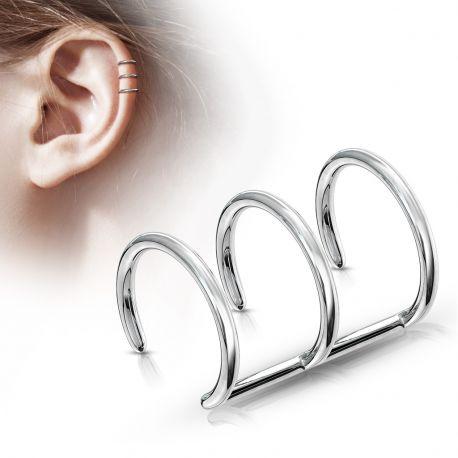 Faux Piercing Oreille Cartilage Triple Anneaux - Bijou Faux Piercing