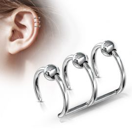 Faux Piercing Oreille Cartilage Triple Anneaux Billes