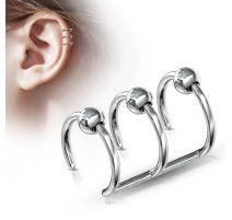 Faux Piercing Oreille Cartilage Triple Anneaux Billes - Bijou Faux Piercing