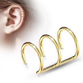 Faux Piercing Oreille Cartilage Plaqué Or Triple Anneaux