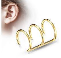 Faux Piercing Oreille Cartilage Plaqué Or Triple Anneaux - Bijou Faux Piercing
