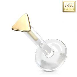 Piercing labret Bioplast triangle en Or Jaune 14 Carats