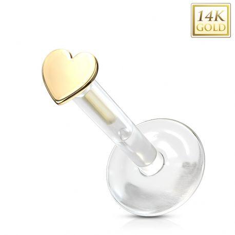 Piercing labret Bioplast coeur en Or Jaune 14 Carats