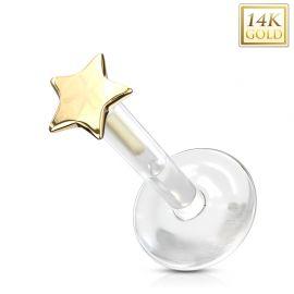 Piercing labret Bioplast étoile en Or Jaune 14 Carats