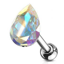 Piercing cartilage hélix larme cristal aurore boréale