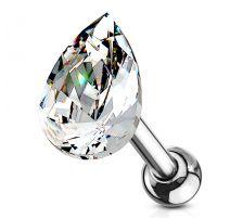 Piercing cartilage hélix larme cristal blanc
