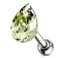 Piercing cartilage hélix larme cristal vert