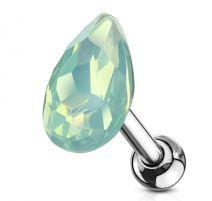 Piercing cartilage hélix larme cristal opaline verte