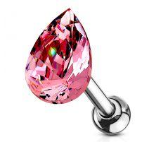 Piercing cartilage hélix larme cristal rose