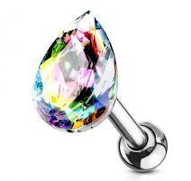 Piercing cartilage hélix larme cristal vitrail léger