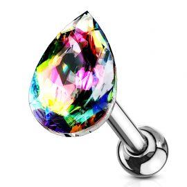 Piercing cartilage hélix larme cristal vitrail moyen