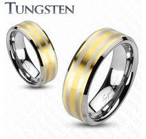 Bague en tungstène dorée double ligne argentée