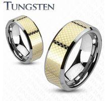 Bague en tungstène dorée motif damier
