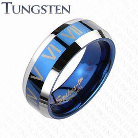 Bague Tungstène Chiffres Romains Bleu