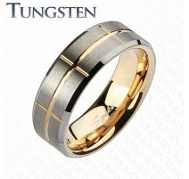 Bague Tungstène rainures or rosé