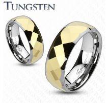 Bague en tungstène multiples facettes dorée