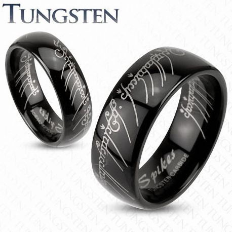 """Bague Tungstène """"Lord of the Ring"""" Noire"""