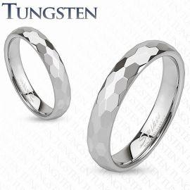 Bague de mariage en tungstène avec multiples prismes