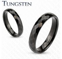 Bague de mariage en tungstène noir avec multiples prismes