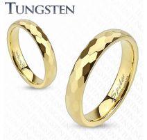 Bague de mariage en tungstène doré avec multiples prismes