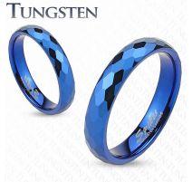 Bague de mariage en tungstène bleu avec multiples prismes