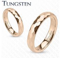 Bague de mariage en tungstène or rosé avec multiples prismes