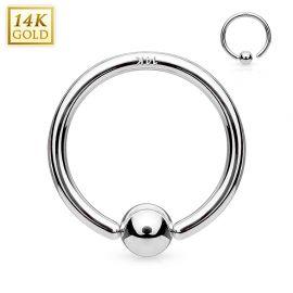 Piercing anneau boule fixée en or blanc 14 carats