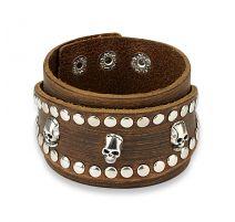 Bracelet homme en cuir marron trois skulls clous