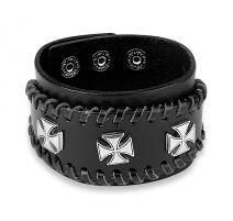 Bracelet homme en cuir noir trois croix de fer