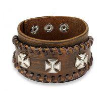 Bracelet homme en cuir marron trois croix de fer