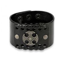 Bracelet homme en cuir noir croix celtique ronde