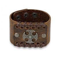 Bracelet homme en cuir marron croix celtique ronde