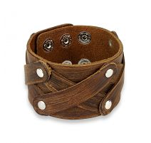 Bracelet homme en cuir marron triple X