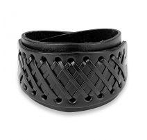 Bracelet homme en cuir noir noué de croix