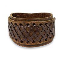 Bracelet homme en cuir marron noué de croix