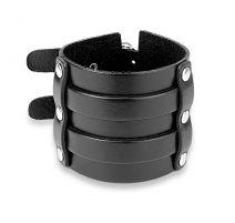 Bracelet homme en cuir noir à double boucles