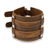 Bracelet homme en cuir marron à double boucles