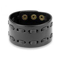 Bracelet homme en cuir noir à double couture