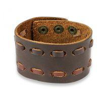 Bracelet homme en cuir marron à double couture