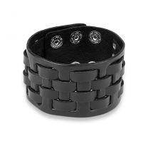 Bracelet homme en cuir noir à damier tissé