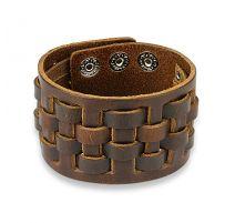 Bracelet homme en cuir marron à damier tissé