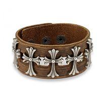 Bracelet homme en cuir marron avec cinq croix celtiques