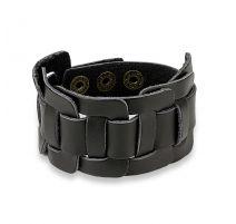 Bracelet homme en cuir noir à centre noué rectangulaire