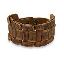 Bracelet homme en cuir marron à centre noué rectangulaire