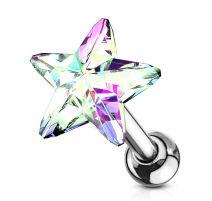 Piercing cartilage hélix étoile cristal aurore boréale