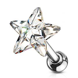 Piercing cartilage hélix étoile cristal blanc