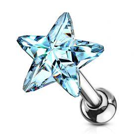 Piercing cartilage hélix étoile cristal bleu clair