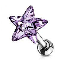 Piercing cartilage hélix étoile cristal tanzanite